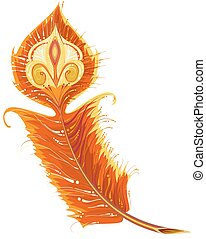 Red Gold Firebird feather. Isolated on white vector