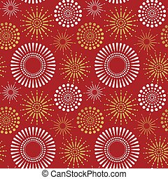 Red gold firework explosion seamless pattern