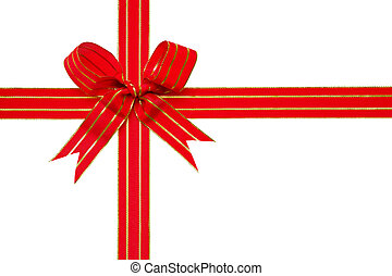 Photo of a red and gold ribbon tied in a bow isolated on a white background with clipping path, ideal for gift themes.