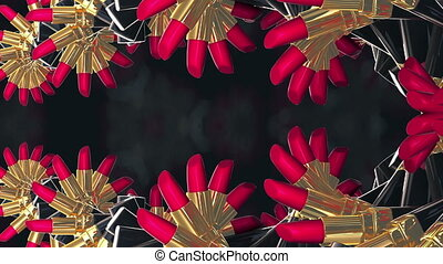 Red gold lipsticks moves like flowers in hypnosis surreal spinning dance. High fashion, glamorous magazines, sexy women, passion and lust kisses are concentrated in this background. Minimalism infinite loop background.