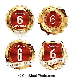Red Gold set of 6th anniversary badges.eps