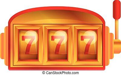 Red gold slot machine icon, cartoon style