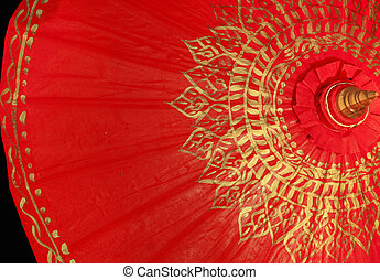 red gold umbrella, Chiang Mai ,Thailand