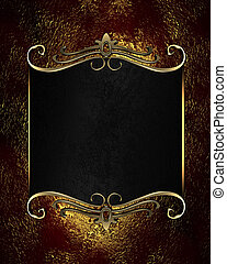 Red-golden background with black nameplate with gold...