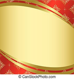 red golden card with golden tracery