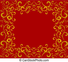 Red golden Christmas frame