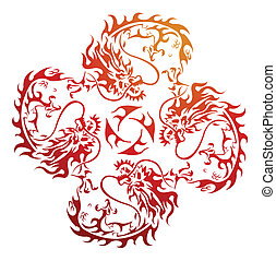 red golden dragon