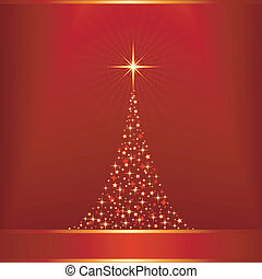 Red golden vector background with Christmas tree and copy-space