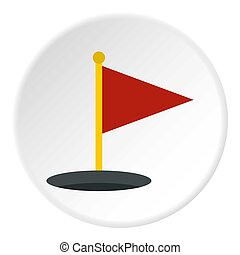 Red golf flag icon circle