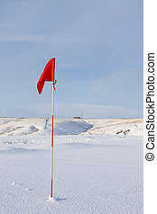 Red Golf Flag in the Snow