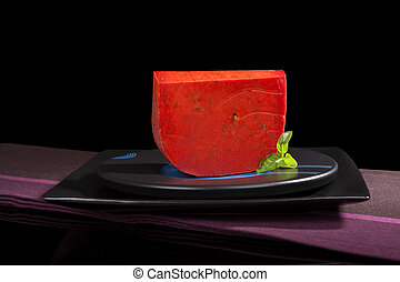 Red gouda cheese. - Red Gouda cheese still life isolated on...