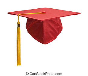 Red Grad Hat Front - Red Graduation Hat with Gold Tassel...