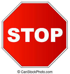 red gradient stop sign on white background
