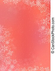 Red gradient winter paper background with snowflake border