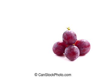 Red grape fruit isolated on white, clipping path included