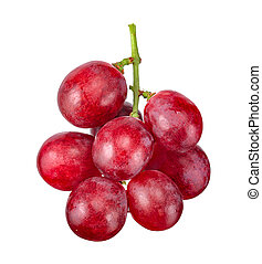 Red grape isolated on white clipping path