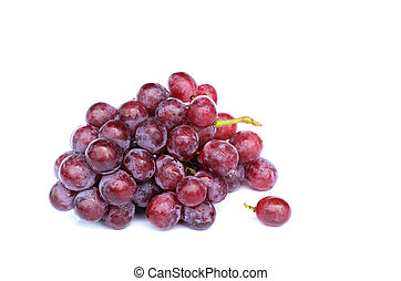 Red grape with macro close up on white backgrounds
