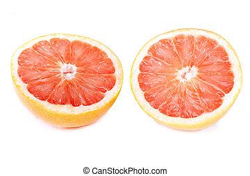 red grapefruit on white