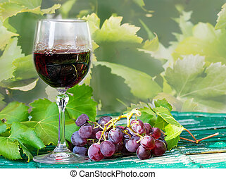 red grapes and wine