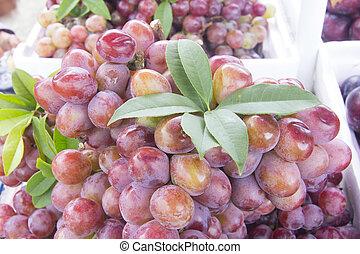 Red grapes at fresh market