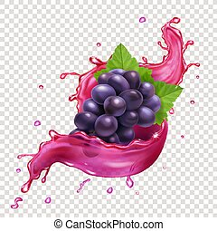 Red grapes juce splash realitic vector icon illustration