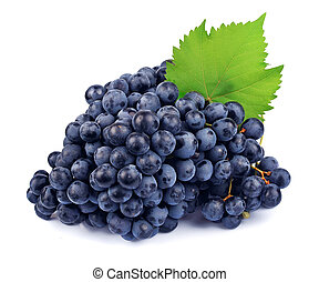 Red grapes with green leaf