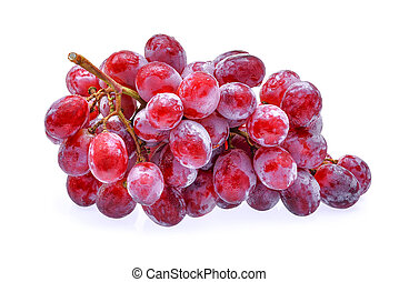 red grapes with water drops isolated on white
