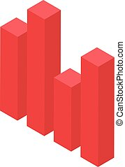 Red graph bar icon, isometric style