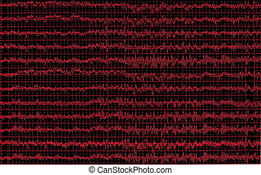 red graph brain wave eeg isolated on black background,...