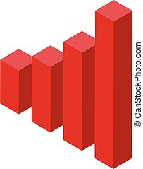 Red graph chart icon, isometric style