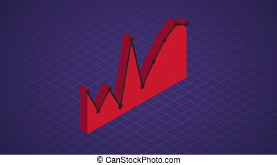 Red graph on blue grid background