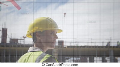Red graphs data moving against male architect with blueprints talking at construction site