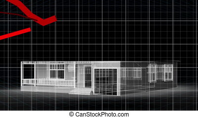 Red graphs moving against 3D house model - Animation of ...