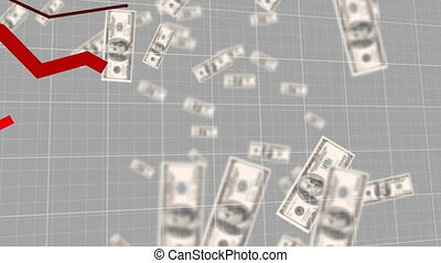 Red graphs moving against American dollars falling - ...