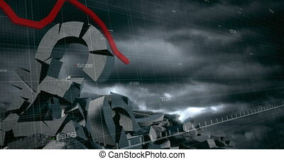 Animation of financial statistics recording with Caucasian businesswoman holding umbrella during thunderstorm with crumbled currency. Global business and finances concept digitally generated image.