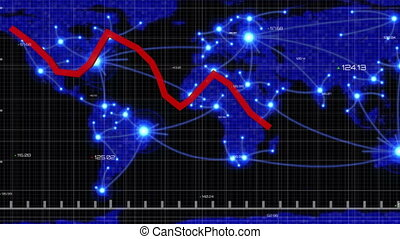 Red graphs moving against world map - Animation of financial...