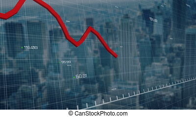 Red graphs moving and data processing against cityscape - ...