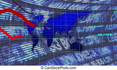 Red graphs over world map against stock market data ...