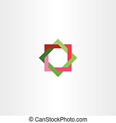 red green abstract square star tech logo business icon