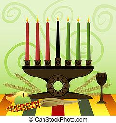 Kwanzaa Kinara - Red, Green and Black candles in a Kwanzaa...
