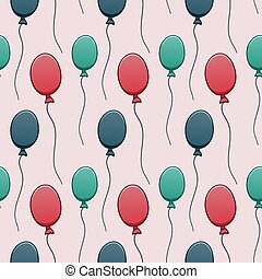 Red, green and blue balloons seamless pattern on pink background