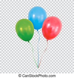 Red green and blue helium balloons set isolated on transparent background.
