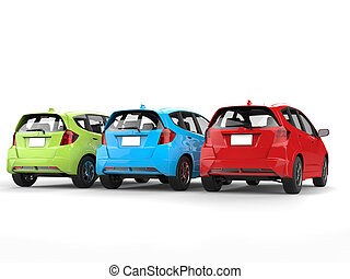 Red, green and blue modern electric cars - back view