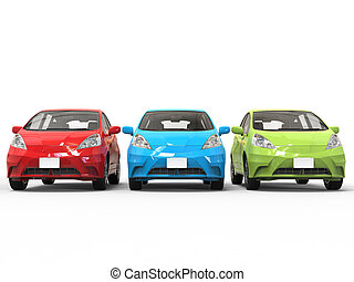 Red, green and blue modern electric cars - front view