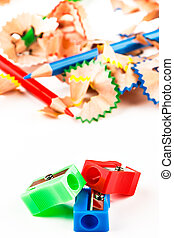 Red, green and blue pencil sharpener.