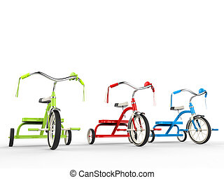 Red, green and blue tricycles