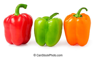 red, green and orange bell peppers on a white background