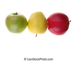 red, green and yellow apples on a white background