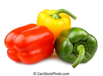 Red, green and yellow bell peppers, isolated
