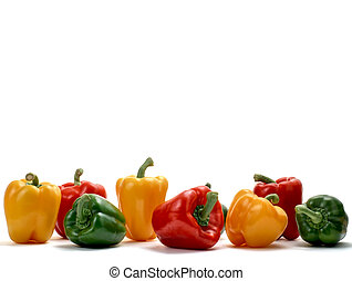 Red, green and yellow bell peppers isolated on white studio background